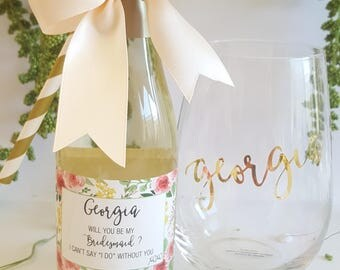 Mini Wine Bottle Label - LABEL ONLY - Will you be my Bridesmaid