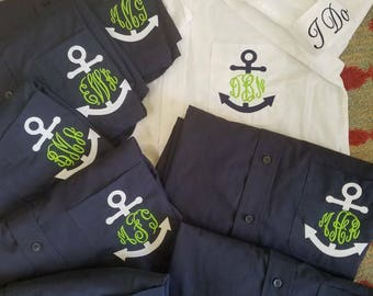 BRIDESMAIDS Oversized Monogrammed Button Down Shirts,monogrammed Oversized bridesmaids oxfords,Navy and White Bridesmaid Oxfords