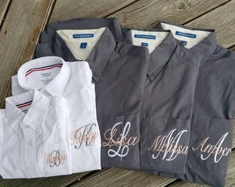 BRIDESMAIDS Oversized Monogrammed Button Down Shirts,monogrammed Oversized bridesmaids oxfords,Grey and White Bridesmaid Oxfords