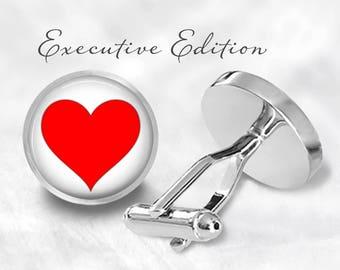 Red Heart Cufflinks - Heart Cuff Links - Valentine Cufflinks Cuff Links - Valentine's Cufflink (Pair) Lifetime Guarantee (S0983)