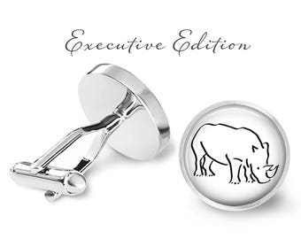 Rhino Cufflinks - Rhinoceros Cuff Links - Rhino Cufflink - Wildlife Cufflinks (Pair) Lifetime Guarantee (S0133)