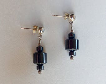 Hematite and Sterling Silver Post Earrings