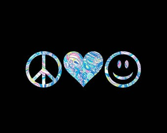 Peace, Love, and Happiness Vinyl Preppy Print Car Decal in Your Choice of Sizes and Patterns!