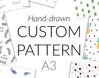 Hand-Drawn Custom Pattern Designed For You, Rights Optional - pattern for resale, custom fabric design, pattern design as you wish