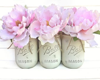 Floral Arrangement - Light Pink Blush Peony Flowers with Ivory Mason Jars Shabby Chic Rustic Centerpieces Vases Distressed Home Decor