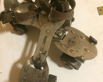 Vintage Metal Strap On Roller Skates by Union Hardware Company, Adjustable Youth Size Rollerskates with Key, Leather Straps