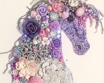 Beautiful Sparkling Unicorn mixed Media Button Art Girls bedroom / Gift