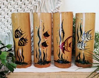 Vintage Bamboo Tiki Mugs / Vintage Tiki Mugs / Bamboo Glasses