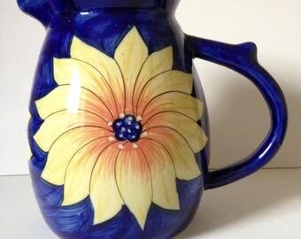 Sunflower Pitcher, Country Kitchen Decor, Sunflower, Farmhouse Kitchen, Cobalt Blue Pitcher, Housewarming Gift, Large Pitcher, Jug Vase
