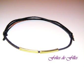 Lace black waxed cotton cord bracelet