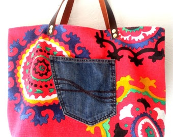 Red cotton canvas tote bag
