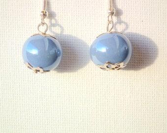 Lavender Blue ceramic earrings