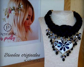 black necklace handpainted heart