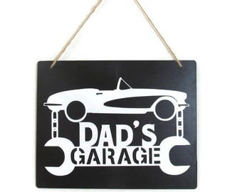 Dad's Garage Sign, Corvette Sign, Garage Sign, Chalkboard Sign, Vette Lovers Gift, Gift for Dad, Gift for Grandpa
