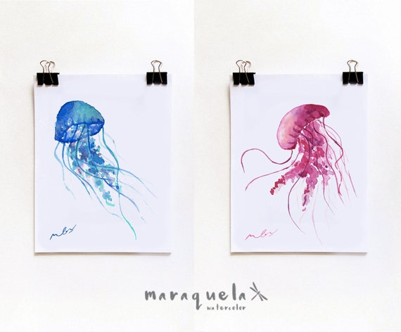 DISCOUNT SET - Jellyfish ILLUSTRATION watercolor. Blue and pink hues. Beach, Summer Sea decor, marine life, watercolour, vivid art prints