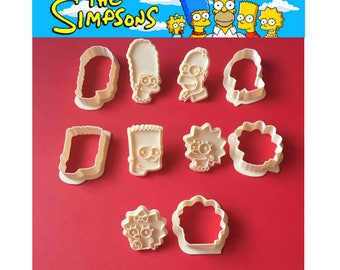 Simpsons 3D cookie cutter Bart Lisa Homer Marge Maggie The Simpsons cake party birthday fondant cutter