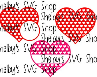 Heart with Heart Pattern - Name, Monogram, Solid - SVG