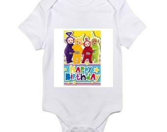custom baby onesie Teletubbies happy birthday onesie