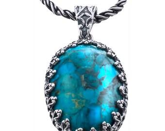 Silver Pendant, Turquoise pendant, Women pendant, Rock crystal, Sterling silver, handmade