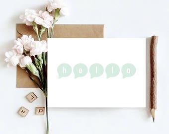 Hello Speech Bubbles Greetings Card   Friend, Sibling, Coworker Card   Generic Greetings Card
