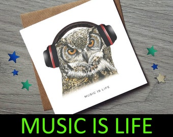 Gift for music lover - Music is life - Man Card - Teenager Card - Music is Life - Teenager gifts - Birthday Card For Him - Music Card
