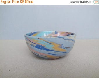 2nd ANNIV SALE Vintage Hand Made Marble Ceramic Bowl / Yellow Ocher, Blue and Pink