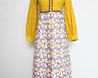 30% OFF VTG 70s Purple Yellow Floral Prairie Hippie Boho Cute Maxi Groovy Mod Dress S