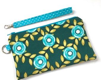 Zipper Wristlet - Zipper Pouch - Cell Phone Wallet - Zipper Clutch - Fabric Zipper Purse - Zipper Clutch - Cosmetic Bag