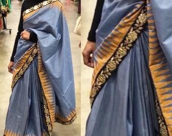 Tiana- Grey / gray silk sari / saree handloom handwoven block print mustard gota patti