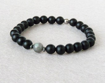Bracelet Labradorite Homme, Bracelet Onyx Noir, Bracelet Simple, Bracelet Elastique, Sur Mesure, Bracelet Homme, Bracelet Pierre Naturelle