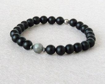 Labradorite Bracelet for Men, Black Onyx Bracelet, Rock Bracelet, Elastic Bracelet, Made to Measure, Mens Bracelet, Natural Stone Bracelet