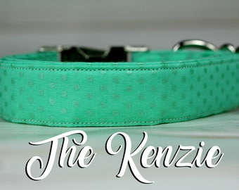 Dog Collar Polka Dots, Polka Dot Dog Collar, Girl Dog Collar, Mint Dog Collar, Glitter Dog Collar, Fabric Dog Collar, Girly Dog Collar, Dog