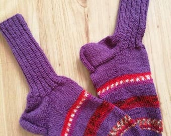 Women socks, knitted socks, purple socks, wool socks, striped socks, warm socks, red socks, hand knit socks, winter clothing, colorful socks
