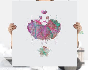 Psychiatrist Art - Ink Blot Art - Rorschach Art -  Psychology Art - Medical Art - Science Art - Instant Download - Psychology Print