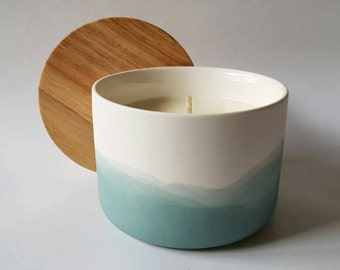 Sage, Ceramic, Beech Timber Soy Candle in Coconut & Lime.Glazed ceramic inside makes this a reusable storage container post candle.