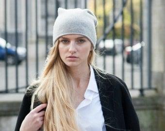 SALE - Women's 100% Cashmere Beanie Hat - Grade A Premium Knit - Winter Hat - Grey Beanie Hat - Light Grey Melange - Luxuriously Soft