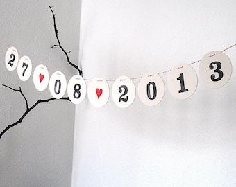 Save the DATE Girlande // Personalisierte Girlande mit dem Hochzeitsdatum für die Hochzeitseinladung von renna deluxe