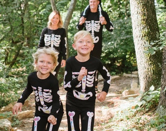 Personalized Halloween Skeleton Bones Family Matching Pajama Set