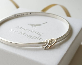 Custom hand stamped Personalised bracelet women's Jewellery Gift Mother's day gift Silver Bangle 9ct Rose gold 30th 40th 50th 60th birthday