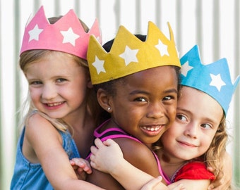 Gold Star Crown, Adjustable Crown, Birthday Party Crown, Halloween Costume, Gender Neutral Gift, Gift for Toddler,  First Birthday Outfit