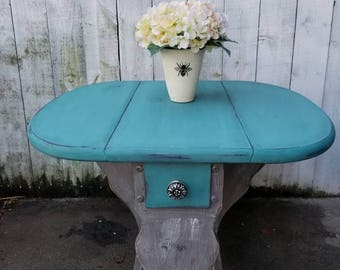 SOLD SOLD Accent Table Vintage Wood Turquoise Table Shabby Chic Oval Table End Table Shabby Chic Gray Accent Table Cottage Chic Furniture