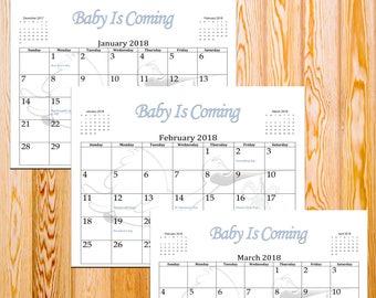 2018 Printable,Minimalist Calendar,Baby Announcement Calendar,Birth Announcement Ideas,Digital Download,Baby Is Coming,Gender Reveal