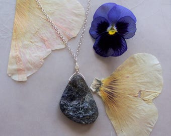 "Rough Organic Iolite Gemstone Freeform Pendant on Delicate Sterling Silver Chain Necklace ~ 17"" Length ~ Reversible"