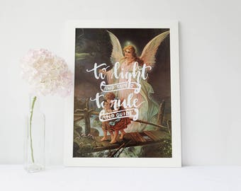Up-Cycled Vintage Art/ Catholic Guardian Angel Prayer/ To Light 8x10 Print