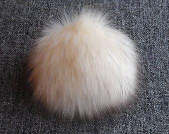 Size L,( dark Cream - brown tips) faux fur pom pom 5.5 inches/15 cm
