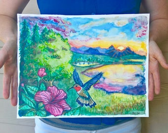 Summer Colors with Hummingbird Giclee Print