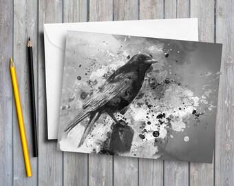 Crow art greeting card crow card gothic crow gothic art card black crow bird card art card wildlife card black bird raven card digital art