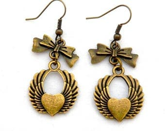 Heart wing and bow earrings