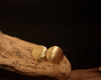 Earrings Brass Gold Round brushed geometric