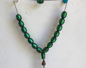 Vintage Green Tassle Necklace